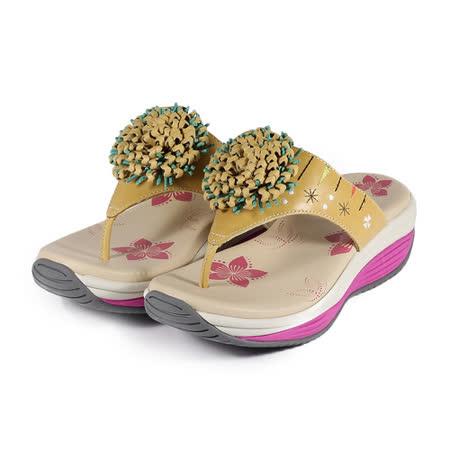 (女) 地之柏 機能夾腳拖鞋 黃 鞋全家福