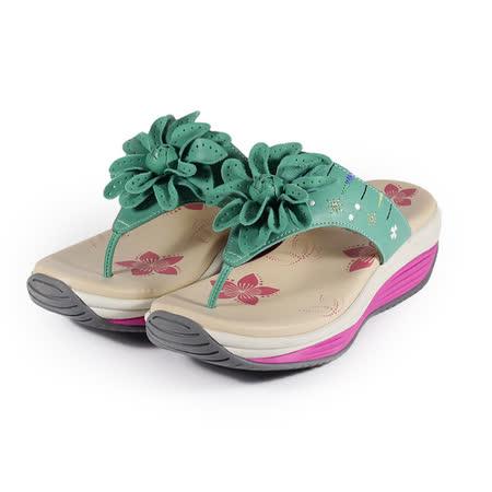 (女) 地之柏 機能塑身拖鞋 綠 鞋全家福