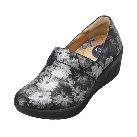 【Kimo德國手工氣墊鞋】真皮花紋厚底鞋.真皮.牛皮.增高.舒適(時尚灰K15WF077012)