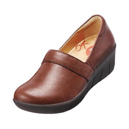 【Kimo德國手工氣墊鞋】真皮花紋厚底鞋.真皮.牛皮.增高.舒適(磚紅咖K15WF077017)