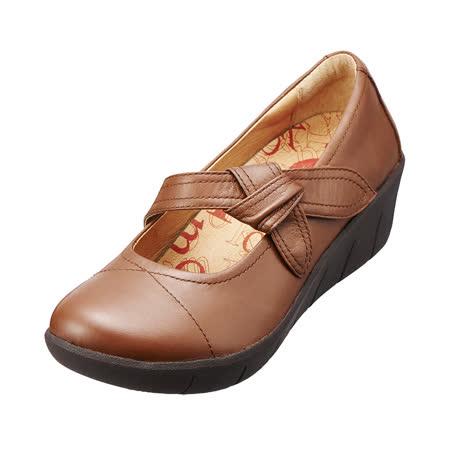 【Kimo德國品牌手工氣墊鞋】單結飾帶真皮厚底鞋‧牛皮‧回彈減壓(風情棕K15WF077025)