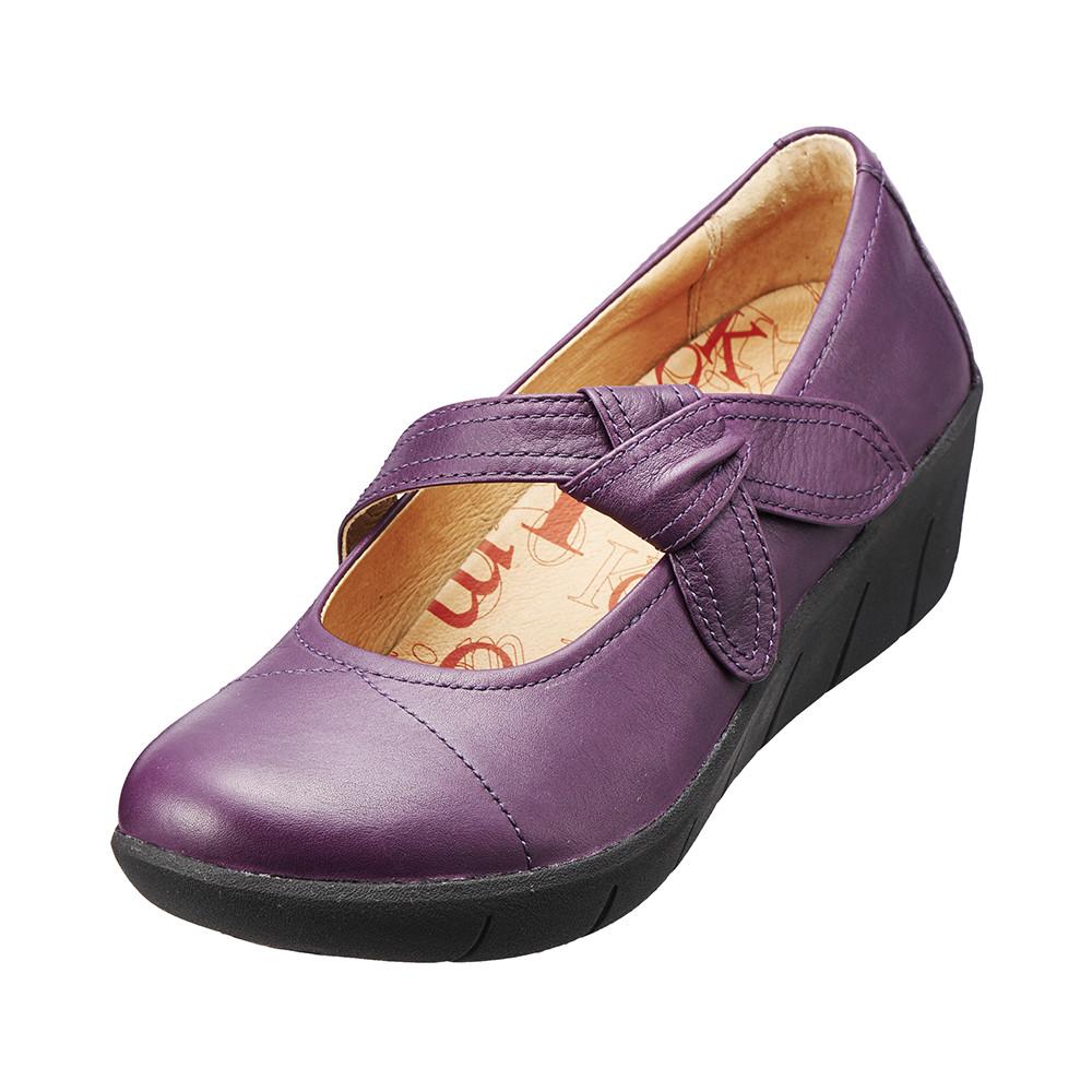 ~Kimo德國品牌 氣墊鞋~單結飾帶真皮厚底鞋‧牛皮‧回彈減壓^(魅力紫K15WF0770