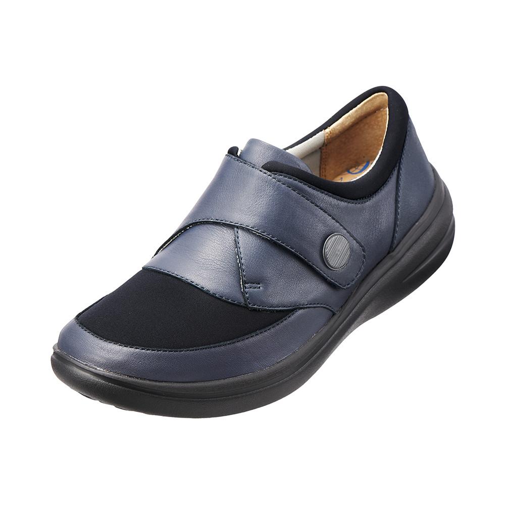 ~Kimo德國品牌 氣墊鞋~真皮扣帶休閒鞋^(深邃藍K15WF071146^)牛皮.網布.