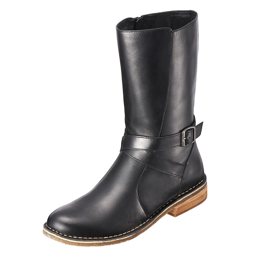 ~Kimo德國品牌 氣墊鞋~義式風格皮釦手縫短靴‧牛皮‧橡膠底^( 黑K15WF08205