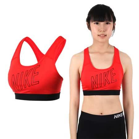 (女) NIKE 運動背心 -慢跑 路跑 運動內衣 健身 橘紅黑