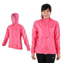 (女) ASICS 可收納外套 - 慢跑 路跑 亞瑟士 連帽外套 桃紅