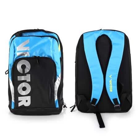 VICTOR 後背包 -羽球包 雙肩包 登山 旅行包 勝利 黑水藍 F