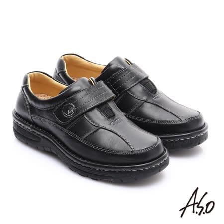 【A.S.O】抗震雙核心 蠟感牛皮雙縫線魔鬼氈奈米休閒皮鞋(黑)