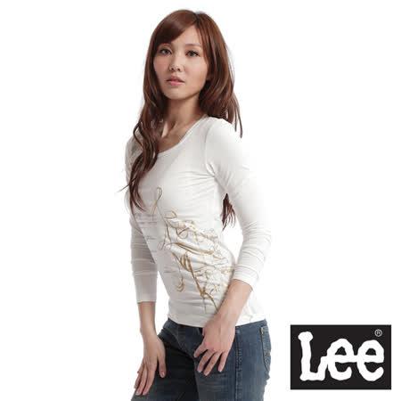 Lee 長袖圓領T恤-女款(奶油白)