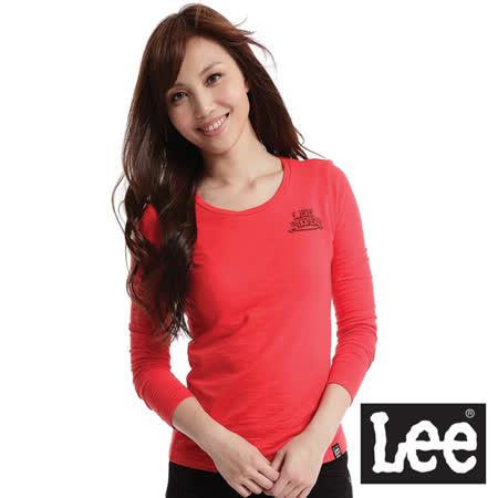 Lee 長袖圓領T恤-女款(紅)