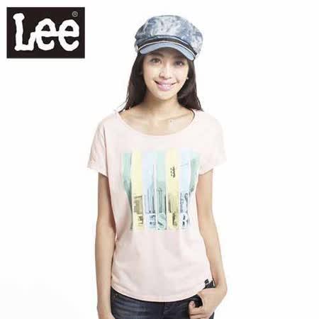 Lee 短袖T恤 連袖印花-女款(淡橘)