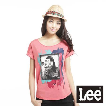 Lee 短袖T恤 彩色印花寬鬆短版-女款(橘)