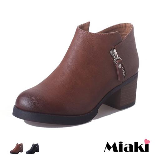 ~Miaki~踝靴 摩登 拉鍊低跟包鞋 ^(黑色 棕色^)