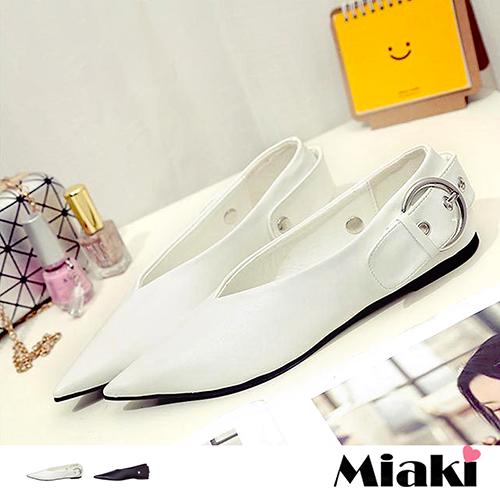 ~Miaki~休閒鞋韓典雅鈕扣尖頭平底包鞋 ^(白色 黑色^)