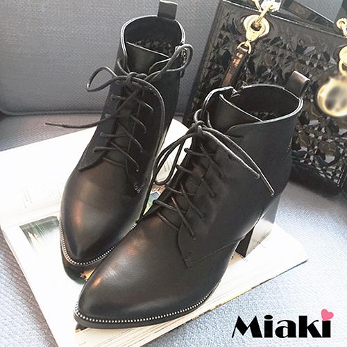 ~Miaki~軍短靴韓首爾 綁帶粗低跟包鞋 ^(黑色^)