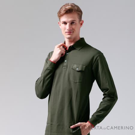 ROBERTA諾貝達 台灣製  嚴選穿搭 時尚休閒長袖POLO棉衫 墨綠