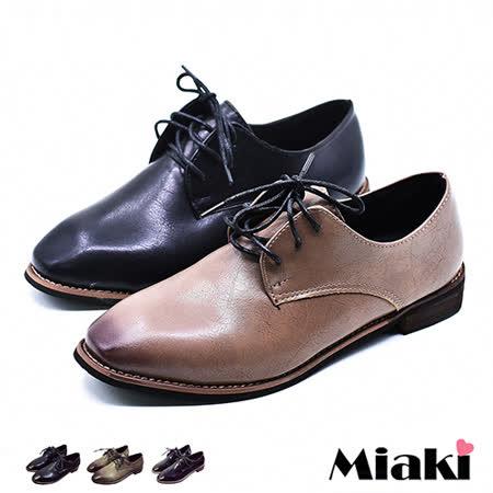 【Miaki】休閒鞋英倫牛津紳士方頭低跟包鞋 (亮黑色 / 霧棕色 / 霧黑色)