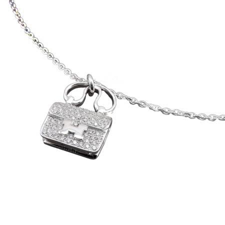 Hermes Diamond Constance 鑲鑽白金短鏈