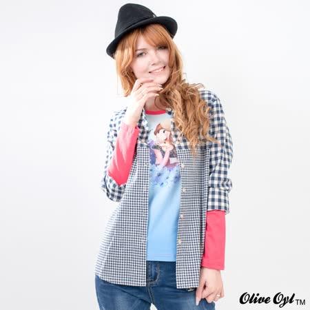 【Olive Oyl奧莉薇】大小格子拼接長袖襯衫(共二色)