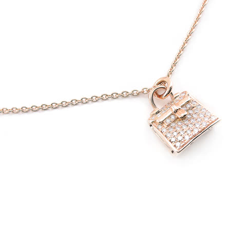 Hermes Rose Gold Diamond Kelly 玫瑰金鑲鑽短項鍊