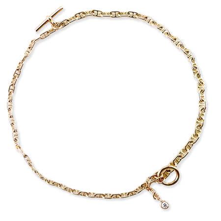 HermesDouble Bracelet 18K金弧面單鑽手鍊