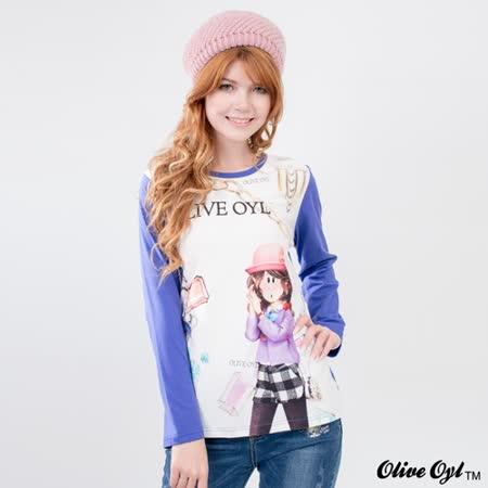 【Olive Oyl奧莉薇】滿版磨毛珠寶彩圖彈性棉質T恤(共二色)
