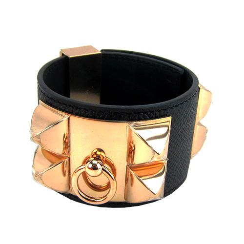HERMES collier de chien鉚釘山羊皮寬版手環^(全黑X金S^)