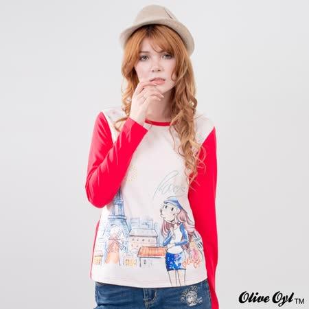 【Olive Oyl奧莉薇】滿版磨毛巴黎煙火彩圖棉質T恤(共二色)