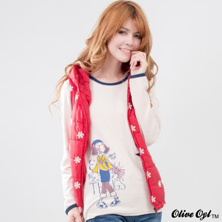 【Olive Oyl奧莉薇】配色包邊單口袋棉質上衣(共二色)