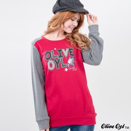 【Olive Oyl奧莉薇】圓領配色拼接袖棉質長版上衣(藍)