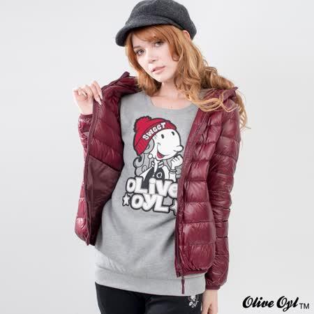 【Olive Oyl奧莉薇】前大圖純色圓領羅紋束口磨毛上衣(共二色)