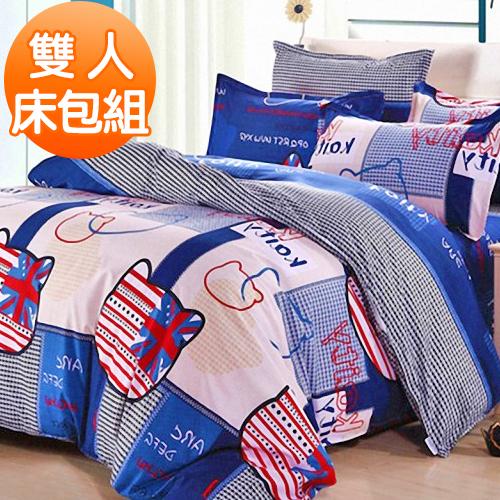 J~bedtime~凱蒂寶貝~藍~柔絲絨雙人三件式床包 枕套組