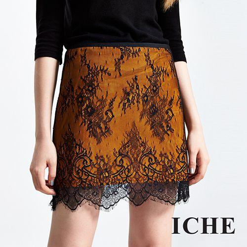 ICHE 衣哲 滿版3D細膩睫毛蕾絲短裙