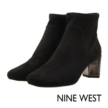 NINE WEST--歐美方頭側拉鍊短靴--個性黑