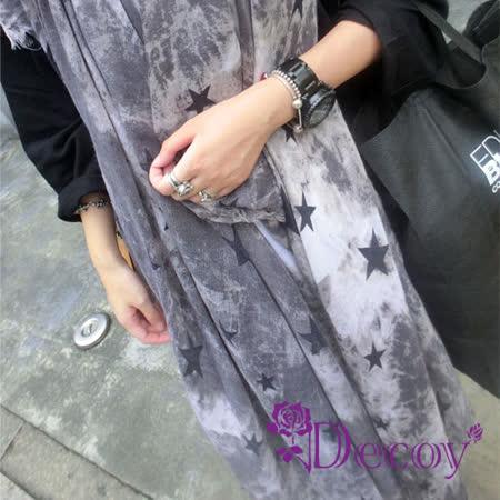 【Decoy】潑墨黑星*漸層加大棉麻圍巾