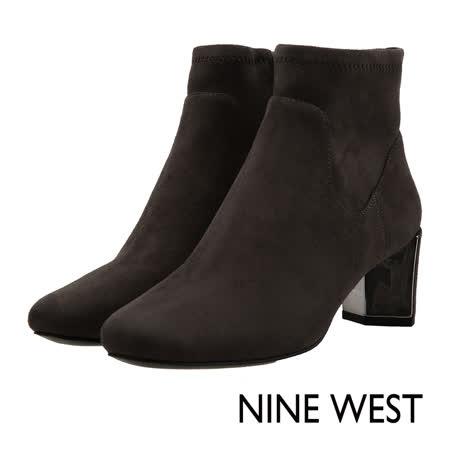 NINE WEST--歐美方頭側拉鍊短靴--簡約灰