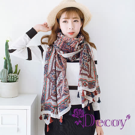 【Decoy】復古民族*紅藍流蘇輕柔圍巾