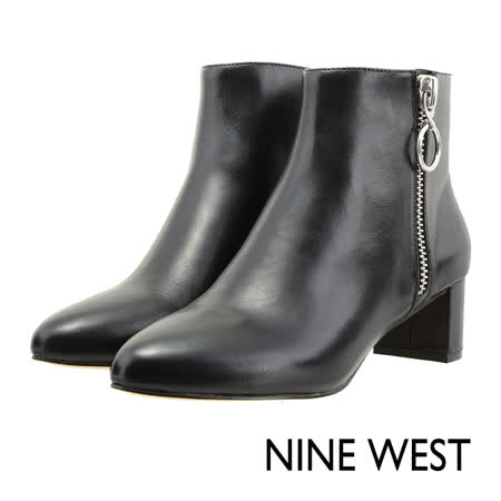 NINE WEST--細緻羊皮側拉鍊短靴--個性黑