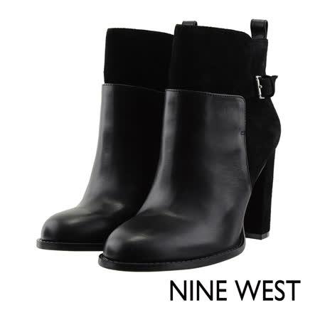 NINE WEST--扣飾牛皮高跟短靴--魅力黑