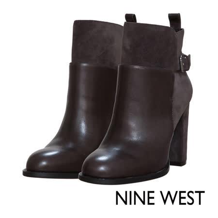NINE WEST--扣飾牛皮高跟短靴--簡約灰
