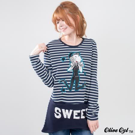 【Olive Oyl奧莉薇】前短後長雙口袋條紋長版刷毛上衣(共二色)