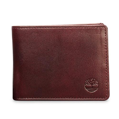 Timberland 素面皮革logo壓印對摺短夾-深咖啡