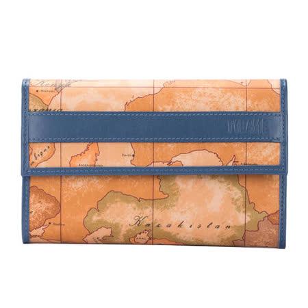 Alviero Martini 義大利地圖包 扣式8卡零錢長夾-藍綠