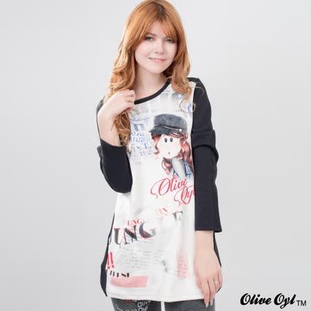 【Olive Oyl奧莉薇】圓領絨布大圖口袋棉質長版上衣(共二色)