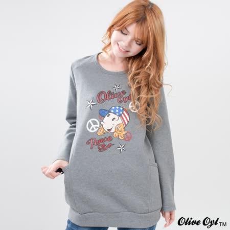 【Olive Oyl奧莉薇】膠印彩圖側口袋縫線棉質長版上衣(藍)