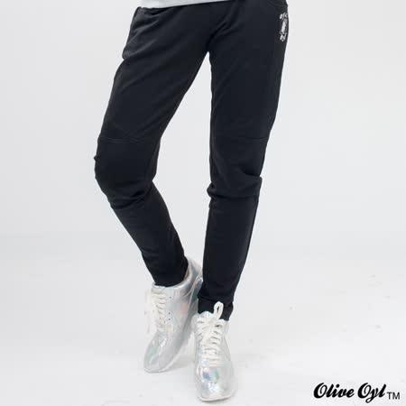 【Olive Oyl奧莉薇】素色口袋彈性棉質休閒褲(黑)