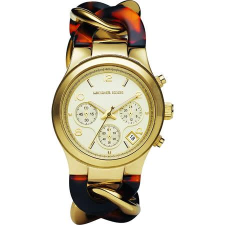 Michael Kors 迷人風情計時手鍊腕錶-金x雙色錶帶/38mm MK4222