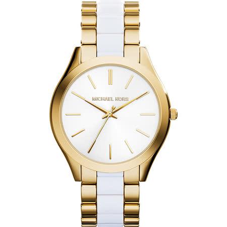Michael Kors 薄型魅姬時尚腕錶-白x金/40mm MK4295