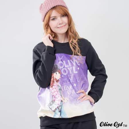 【Olive Oyl奧莉薇】刷毛大圖拼接長袖長褲冬季套裝(共二色)