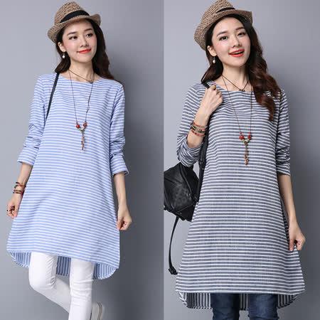 【C.R.】橫條紋棉麻洋裝